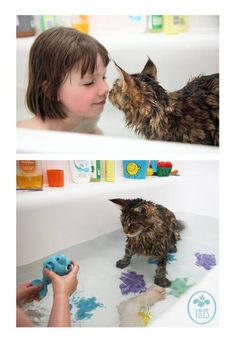 Iris Grace and her therapy cat and best friend Thula are inseparable. They even have the same favourite toys in the bath