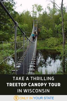 This scenic treetop canopy tour in Wisconsin is perfect for teambuilding and family fun. Enjoy ziplines, swinging suspension bridges, and beautiful views on this outdoor adventure. Beautiful Places In America, Oh The Places You'll Go, Outdoor Activity Centres, Flight Check In, Go Usa, Kayak Tours, Hidden Beach, Local Attractions, Road Trip Usa
