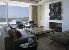 Magni Design - Newport Beach   Cannes in California Modern Fireplaces, Beach Design, Newport Beach, Cannes, Beach House, Lounge, California, Living Room, Home Decor