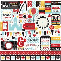 """Capture all of your family magical moments from your summer vacation to Disneyland or Disneyworld with the Echo Park Magical Adventure Collection 12"""" x 12"""" Element Stickers. Create wonderful scrapbook"""