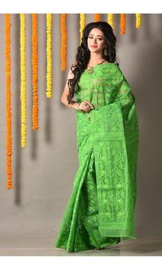 Parrot Green - Dhakai Saree - Colors Of Bengal - Dhakai Jamdani Saree, Bengal, Blouse Designs, Sari, Parrot, Green, Unique, How To Wear, Moon