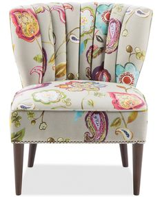 This gorgeous accent chair known as a slipper chair is perfect for any living room. Set it by a window or in any nook for a reading chair. Design Living Room, Living Room Seating, Living Room Chairs, Living Room Furniture, Hallway Furniture, Living Rooms, Grey Accent Chair, Accent Chairs, Floral Accent Chair