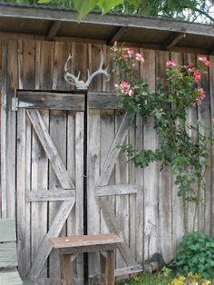 Barn door with roses