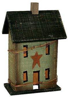 "12"" Primitive Electric Saltbox House Candle Lamp - Decorative Lighting - Lighting - Primitive Decor"