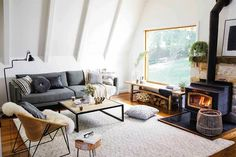 The rooms that will inspire your next makeover Living Room On A Budget, Living Room Decor, Cosy Fireplace, Lounge Decor, Big Windows, Home Reno, Interior Decorating, New Homes, Rooms