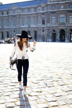Floppy hat and silver oxfords