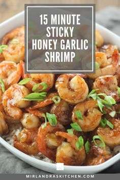 These sweet and savory shrimp make a delicious stir fry bowl with veggies and rice or a quick protein for salad! Kids love the sweet flavor of this simple dish and you can have dinner on the table in 15 minutes! #seafood #easy #15minute dinner Healthy Stir Fry, Healthy Dishes, Healthy Recipes, Healthy Food, 15 Minute Dinners, Fast Dinners, Garlic Shrimp, Grilled Shrimp, Dinner Bowls