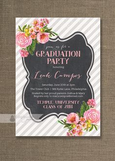 Roses & Chalkboard Graduation Party by digibuddhaPaperie on Etsy, $20.00