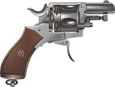 Belgian Bulldog revolver illustration. Speed up and simplify the pistol loading process  with the RAE Industries Magazine Loader. http://www.amazon.com/shops/raeind