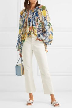 6bf19ec2f7d53a Dolce   Gabbana - Printed silk-chiffon blouse