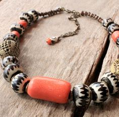 SUPER STAR - African Bohemian necklace beaded in Orange Amber and  african Batik Bone beads  -  Bohemian jewelry & African jewelry