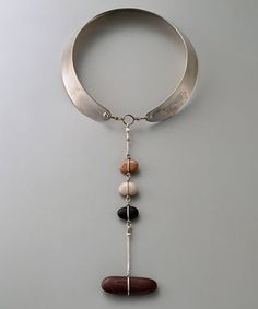 Necklace | Vivianne Torun Bülow-Hübe.  Silver and pebbles.  ca. 1950