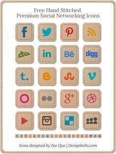 Free Hand Stitched Premium Social Networks Icons #socialmediaicons