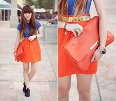 What I wore to hang out with a friend in the city! First few days of Summer suck but I guess I get to colorblock without all the excess layers, hehe. I love electric blue on bright orange... It has such a fluorescent effect!  I'll be posting photos on the blog and a giveaway of the clutch soon so keep a lookout: http://paledivision.blogspot.com/  \*o*/
