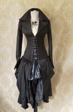 LAST ONE Pinstripe steel boned bustle corset coat, valkyrie lace front corset-to fit 26-28 inch natural waist. $249.00, via Etsy.