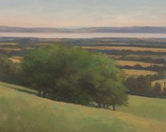 Oil  landscape painting of trees on Dron Hill