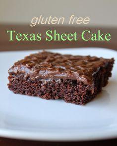 The Best Gluten Free {Recipes}: Gluten Free/Egg Free Texas Sheet Cake (Gluten Free Chocolate Bread) Gluten Free Deserts, Best Gluten Free Recipes, Gluten Free Sweets, Gluten Free Cakes, Foods With Gluten, Gluten Free Baking, Gluten Free Texas Sheet Cake Recipe, Gf Recipes, Paleo Sweets