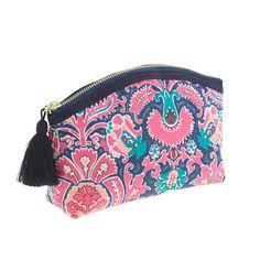 Liberty printed medium pouch | J Crew | love the tassel zipper