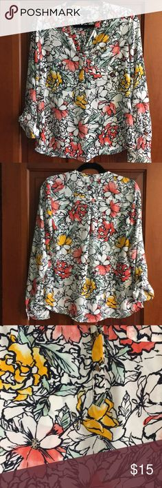 The Limited Floral Top EUC, worn once. Navy blue outlined flowers with mint green, coral and yellow accents. Tiny gold buttons, wear sleeves rolled up and buttoned or down and buttoned at cuff. V neck with 3 buttons underneath. 20.5 inches across bust, 25.5 inches long. 100% Polyester. The Limited Tops Blouses