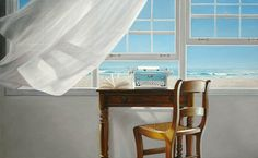 Highland Dunes 'Channeling Hemingway' by Karen Hollingsworth Giclee Art Print on Wrapped Canvas Size: H x W x D Moving Furniture, Open Window, Interior Paint, Decoration, Canvas Art Prints, Canvas Size, Wrapped Canvas, Blue And White, Home Decor