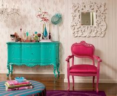 Add a pop of color to your interior design by painting furniture.