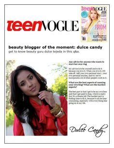 Dulce Candy in the issue of Teen Vogue!!!