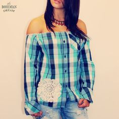 Bohemian Top Plaid Blouse Off Shoulder by TheBohemianDream on Etsy
