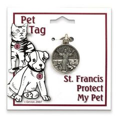 Large Pewter St Francis Protect My Pet Tag
