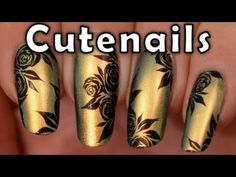 Watch Party nail art design tutorial : Gold nails & acrylic paint roses, a Nail Degins video on Stuffpoint. Nail Art Vert, Rose Nail Art, Rose Nails, Flower Nail Art, Nail Art Designs, Flower Nail Designs, French Nail Designs, Acrylic Nail Designs, Nails Design
