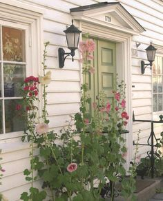 Lovely door and hollyhocks in Posebyen in Kristiansand, Norway. http://www.visitkrs.no/en/