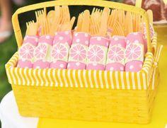 Bella's Pink Lemonade Party utensils napkin rings summerspastryperfect.com