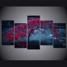 HD Printed tree  light purple autumn Painting Canvas Print room decor print poster picture canvas Free shipping/ny-4933