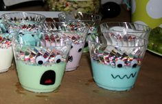Monster yogurt cups! A healthy alternative flavored with jello powder. This is also THE CUTEST party! The food is nice, but look easy enough to attempt. Decor is simple, but fun. And the games, while for older kids, are good too!