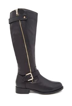 Knee-High Faux Leather Boots | Forever 21 PLUS - 2000145363