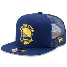 Men s New Era Royal Golden State Warriors Trucker Patched Snapback 9FIFTY  Adjustable Hat 8cee450fc636
