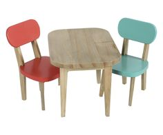 Wooden table and 2 chairs, turquise and coral
