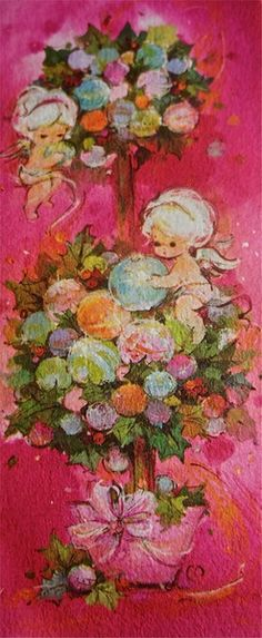 ~ Merry Christmas Darling, Vintage Christmas Cards, Vintage Cards, Vintage Paper, Angels, Cute, Painting, Image, Roses