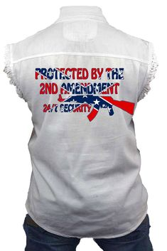 Right to Bear Arms SHORE TRENDZ Sleeveless Denim Shirt 2nd Amendment