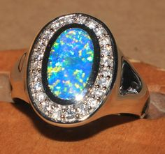 blue fire opal Cz ring Gemstone silver jewelry Size 8 chique design Q29