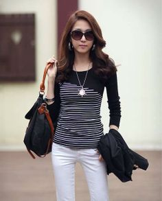 Waving Fashion Striped Matched Long Sleeve Black Shirts  Shirts from stylishplus.com