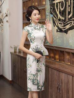 Green Floral Midi Qipao / Cheongsam Dress