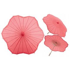 Red Scalloped Shaped Paper Parasol