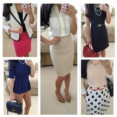 Daily Work Outfits business attire for young women . Office Outfits Women, Summer Work Outfits, Casual Work Outfits, Business Casual Outfits, Work Attire, Business Fashion, Outfit Office, Office Wear, Business Clothes
