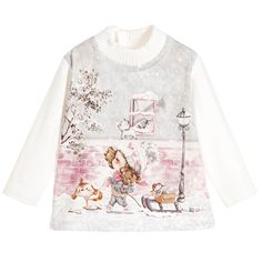 Mayoral Baby Girls Ivory Cotton Top with Girl & Dog at Childrensalon.com