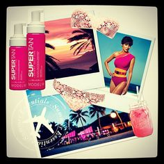 ModelCo's summer essentials #Jetsswimwear #SuperTan #cocktails #islandparadise #style #summer