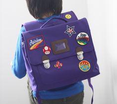 Custom patch work of purple school bag for kids TYPE B #02