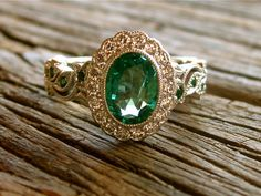 Green Emerald Engagement Ring in 14K White Gold by SlowackJewelry