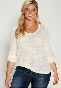 plus size lightweight pullover with floral lace (original price, $36) available at #Maurices