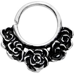 "16 Gauge 5/16"" White Brass Bundle of Roses Septum Ring"