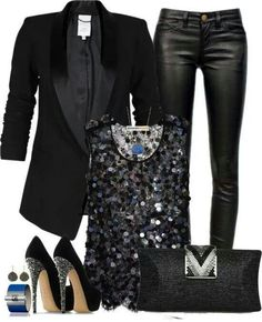 Love everything about this especially the leather pants and blazer